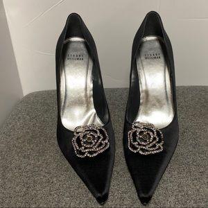Stuart Weitzman Black Crystal Rose Toe Heels 10